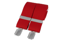 Dalaco BR-005 Plain Red 33mm Silver Clip Braces